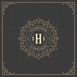 Logo Design Template royal S'épanouit les lignes élégantes calligraphiques d'ornement Photographie stock libre de droits