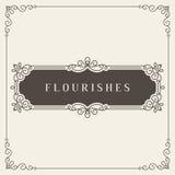 Logo Design Template Vector Decoration real, líneas de marco elegantes caligráficas del ornamento de los Flourishes Bueno para el Foto de archivo libre de regalías
