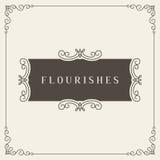 Logo Design Template Vector Decoration real, líneas de marco elegantes caligráficas del ornamento de los Flourishes Bueno para el Fotos de archivo