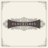 Logo Design Template Vector Decoration real, líneas de marco elegantes caligráficas del ornamento de los Flourishes Bueno para el Foto de archivo