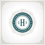 Logo Design Template Vector Decoration real Prospera líneas elegantes caligráficas del ornamento Foto de archivo libre de regalías