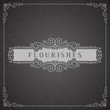 Logo Design Template Vetora Decoration real, linhas de quadro elegantes caligráficas do ornamento dos Flourishes Bom para o luxo ilustração do vetor