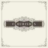 Logo Design Template Vetora Decoration real, linhas de quadro elegantes caligráficas do ornamento dos Flourishes Bom para o luxo ilustração royalty free