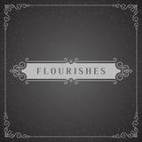 Logo Design Template Vetora Decoration real, linhas de quadro elegantes caligráficas do ornamento dos Flourishes Bom para o luxo ilustração stock