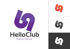 Logo Design Template Violet majuscule lié 69 par nombres à l'arrière-plan blanc illustration stock