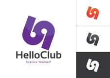 Logo Design Template Violet mayúsculo ligado 69 números en el fondo blanco Stock de ilustración