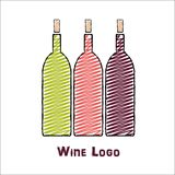 Logo design template of wine bottles. On white background. Concept for wine lists, bar and restaurant menus, alcohol drinks, wine labels Royalty Free Stock Photos
