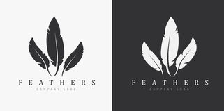 Logo design with three feathers and company name. Stock Photo
