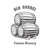 Logo design with wooden beer barrels Stock Image