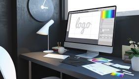 logo design workspace royalty free illustration