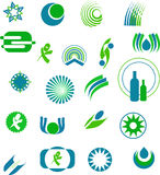 Logo designs. Various logo designs in blue and green Stock Image