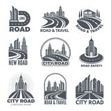 Logo designs with illustrations of roads and buildings. Vector road and travel, modern highway logo Royalty Free Stock Photography