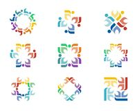Logo designs. A series of colorful logo designs with repeating floral elements Stock Photography