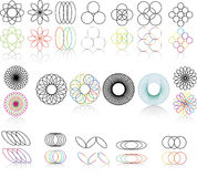 Logo and desing elements. Set of 16 logo elements is black and white and color Stock Photo