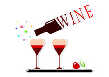 Logo a dessert and a bottle with wine. Stock Images