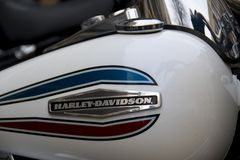 Logo detail on Harley Davidson motorcycle. Harley-Davidson Enthusiasts Roll Into Northampton 2018 royalty free stock photos