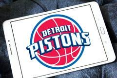 Detroit Pistons american basketball team logo. Logo of Detroit Pistons team on samsung tablet. The Detroit Pistons are an American professional basketball team Royalty Free Stock Photos