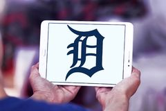 Detroit Tigers baseball team logo. Logo of Detroit Tigers team on samsung tablet. The Detroit Tigers are an American professional baseball team Stock Photo
