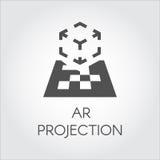 Logo of device virtual AR projection. Black flat icon of digital AR technology Royalty Free Stock Photos