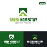 Logo di alloggio presso famiglie/affare verdi Logo Idea di progettazione vettore dell'icona Fotografie Stock Libere da Diritti