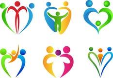 Logo di amore della famiglia Fotografia Stock