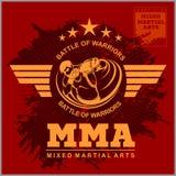 Logo di arti marziali e di pugilato, distintivo o etichetta nello stile d'annata royalty illustrazione gratis