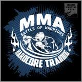Logo di arti marziali e di pugilato, distintivo o etichetta nello stile d'annata illustrazione vettoriale