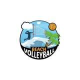 Logo di beach volley per il gruppo e la tazza Fotografia Stock