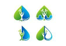 Logo di benessere di cura del cuore, bellezza, stazione termale, salute, pianta, goccia di acqua, amore, progettazione sana dell' illustrazione di stock