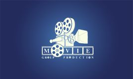 Logo di bianco di produzione del gruppo di film illustrazione vettoriale
