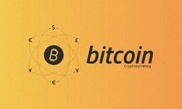 Logo di Bitcoin e segni di altre valute con le connessioni di rete Immagini Stock Libere da Diritti