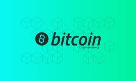 Logo di Bitcoin Modello isometrico cubico Fondo verde Fotografia Stock