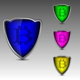 Logo di Bitcoin in schermi Immagine Stock