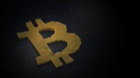 Logo di Bitcoin su un fondo scuro in 3D illustrazione vettoriale