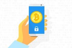 Logo di Bitcoin sul fondo dello smartphone Moneta di oro Concetto per attività bancarie di Internet Vettore Immagini Stock Libere da Diritti