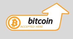 Logo di Bitcoin di valuta cripto con un'iscrizione accettata qui su un fondo bianco Autoadesivo del blocco per slabbarking Immagini Stock Libere da Diritti