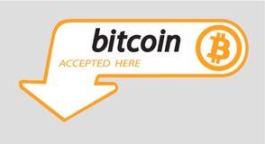 Logo di Bitcoin di valuta cripto con un'iscrizione accettata qui su un fondo bianco Autoadesivo del blocco per slabbarking Fotografia Stock Libera da Diritti