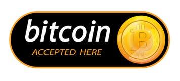 Logo di Bitcoin di valuta cripto con un'iscrizione accettata qui su un fondo nero Autoadesivo del blocco per slabbarking Immagine Stock