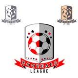 Logo di calcio con la palla sul fondo dello schermo illustrazione di stock