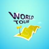 Logo di concetto di giro del mondo, itinerario lungo nella mappa di viaggio Fotografia Stock