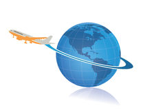 Logo di consegna e di viaggio intorno al mondo Fotografia Stock Libera da Diritti