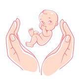 Logo di cura del bambino Fotografia Stock