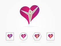 Logo di cura della gente del cuore dell'illustrazione di vettore Fotografia Stock