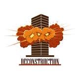Logo di Deconstruction Company Esplosione di distruzione in una costruzione Immagini Stock Libere da Diritti