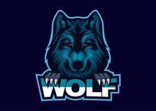 logo di E-sport con il tema di base dei lupi Modello capo di logo del esport del lupo illustrazione vettoriale