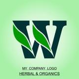 Logo di erbe ed organico progettato in ordine alfabetico ed illustrazione del computer illustrazione di stock
