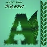 Logo di erbe ed organico progettato in ordine alfabetico ed illustrazione del computer illustrazione vettoriale