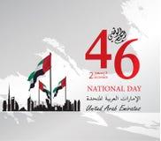 Logo di festa nazionale degli Emirati Arabi Uniti UAE, con un'iscrizione nello spirito arabo di traduzione dell'unione, festa naz Fotografia Stock