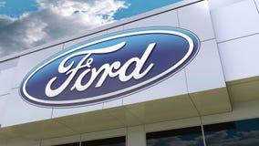 Logo di Ford Motor Company sulla facciata moderna della costruzione Rappresentazione editoriale 3D Fotografie Stock Libere da Diritti