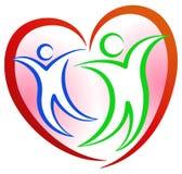 Logo di forma del cuore della gente illustrazione vettoriale